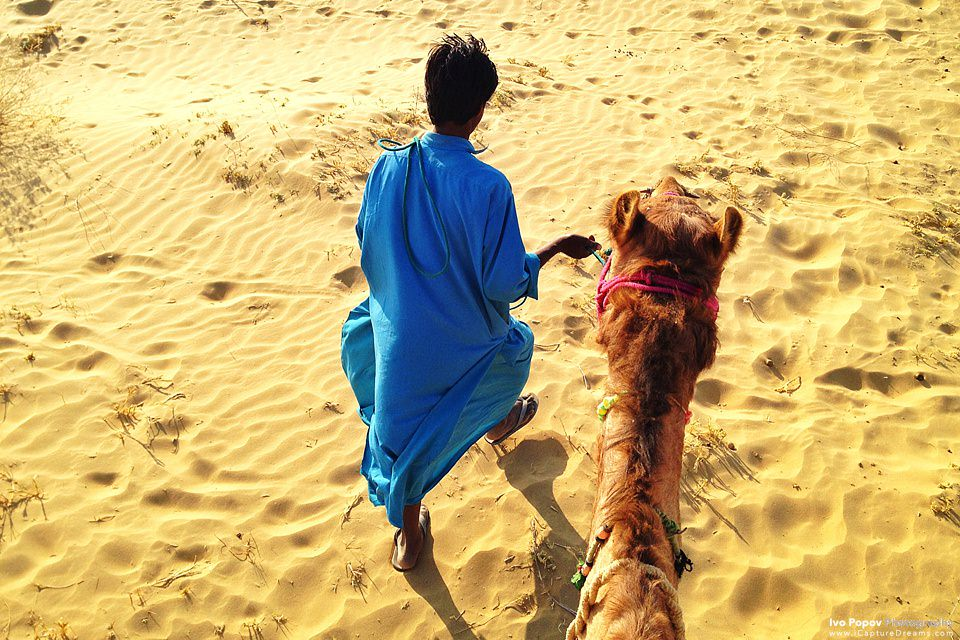 During a camel safari in the Tar desert close to the city of Jaisalmer, Rajahstan, India. Photo: iPhone 4s